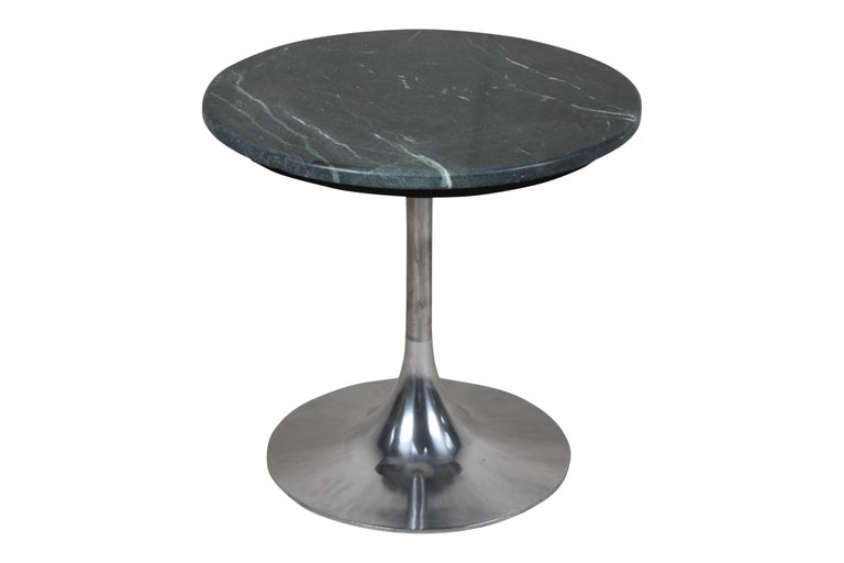 Mid-Century Modern Tulip Base Chrome and Green Marble Side or Coffee Table, Midcentury For Sale
