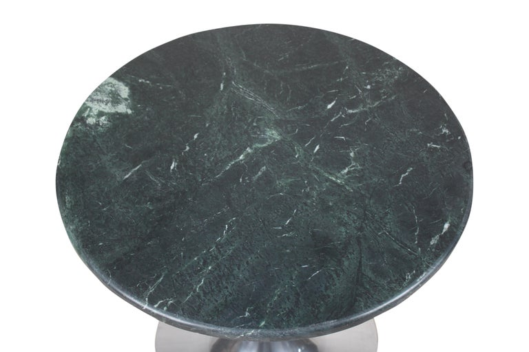 20th Century Tulip Base Chrome and Green Marble Side or Coffee Table, Midcentury For Sale