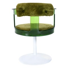 Tulip Base Green Lucite Green Shag Swivel Armchair by Daystrom
