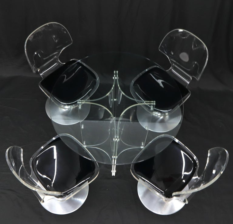 Tulip Chrome Base Lucite Seats Set of 4 Chairs Dining Table with Glass Round Top For Sale 4