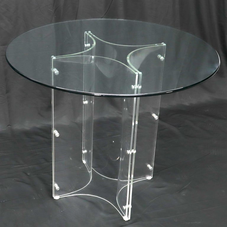 Tulip Chrome Base Lucite Seats Set of 4 Chairs Dining Table with Glass Round Top For Sale 6