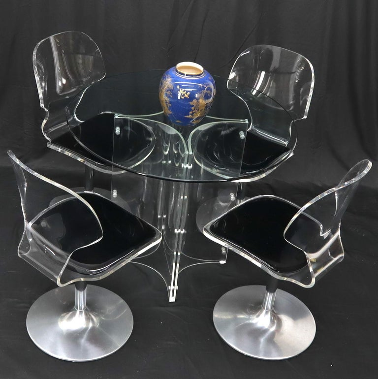 Tulip Chrome Base Lucite Seats Set of 4 Chairs Dining Table with Glass Round Top For Sale 7