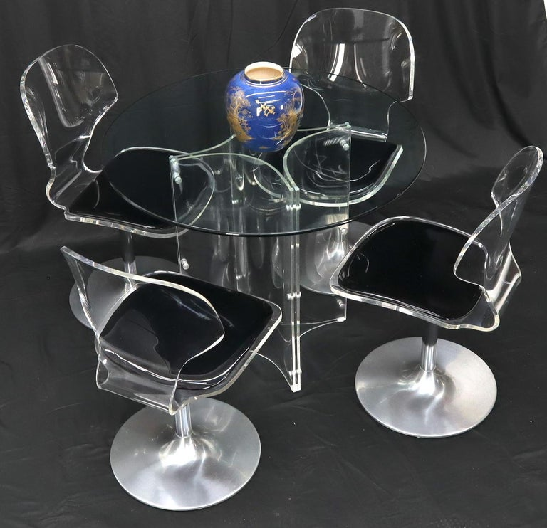 Tulip Chrome Base Lucite Seats Set of 4 Chairs Dining Table with Glass Round Top For Sale 8
