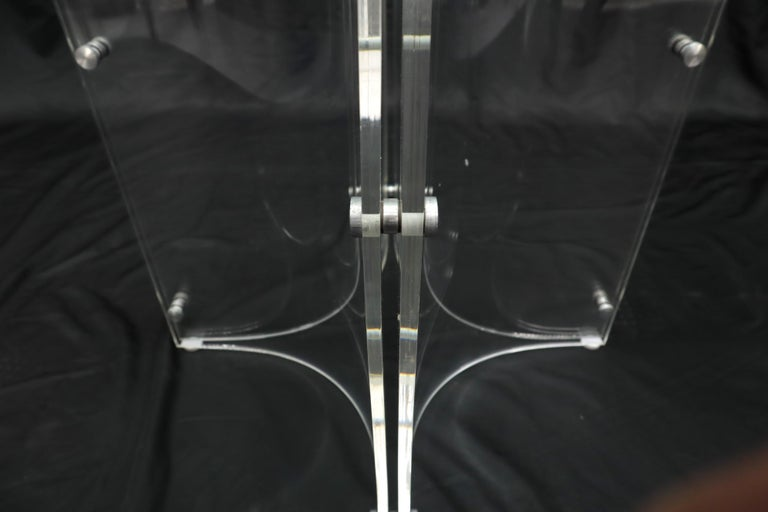 Tulip Chrome Base Lucite Seats Set of 4 Chairs Dining Table with Glass Round Top For Sale 11
