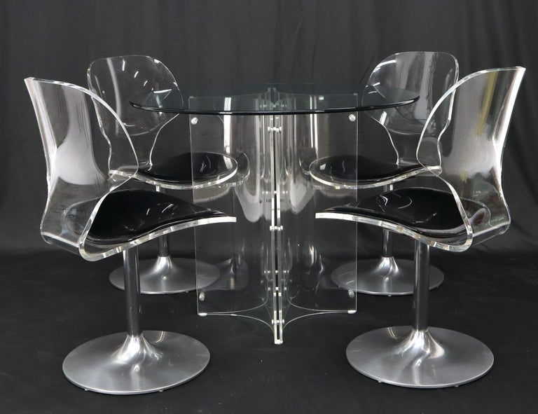 Tulip Chrome Base Lucite Seats Set of 4 Chairs Dining Table with Glass Round Top For Sale 3