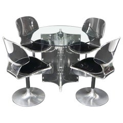 Tulip Chrome Base Lucite Seats Set of 4 Chairs Dining Table with Glass Round Top