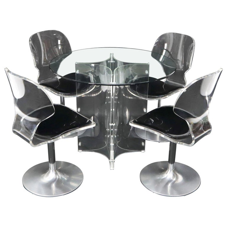 Tulip Chrome Base Lucite Seats Set of 4 Chairs Dining Table with Glass Round Top For Sale