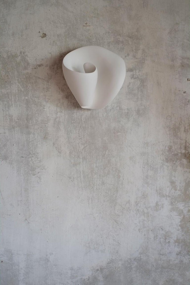 Molded Tulip Contemporary Wall-Mounted Sculpture in White Plaster, Hannah Woodhouse For Sale