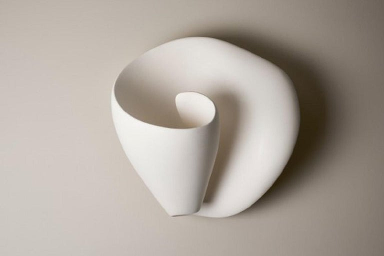Organic Modern Tulip Contemporary Wall-Mounted Sculpture in White Plaster, Hannah Woodhouse For Sale
