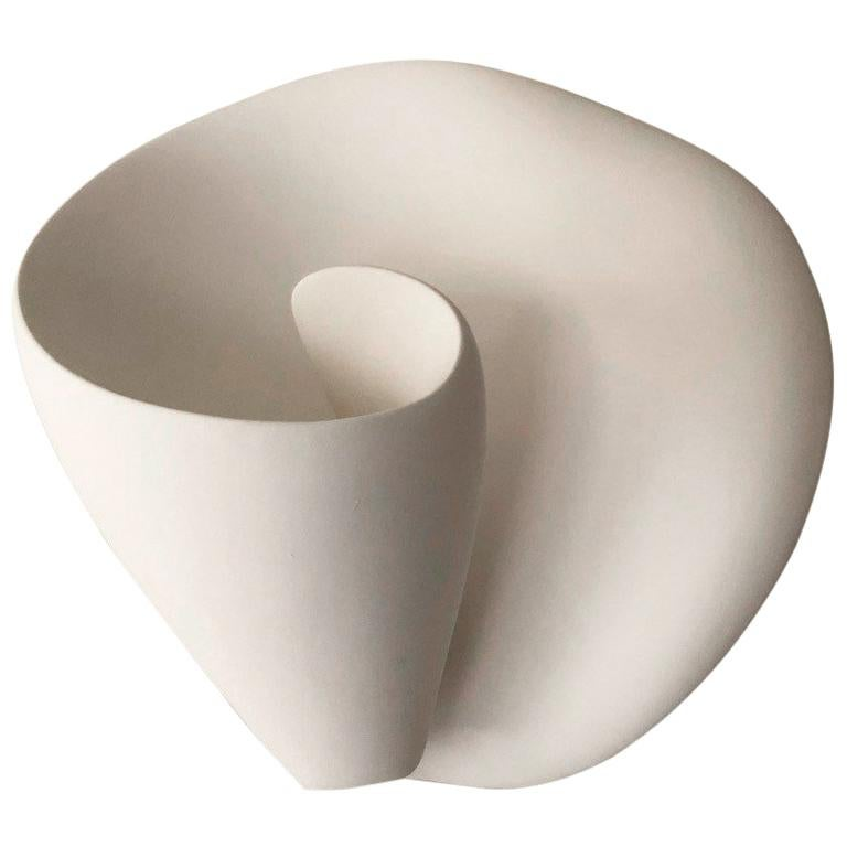 Tulip Contemporary Wall-Mounted Sculpture in White Plaster, Hannah Woodhouse For Sale