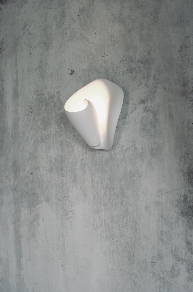 Molded Tulip Contemporary Wall Sconce, Wall Light in White Plaster, Hannah Woodhouse For Sale