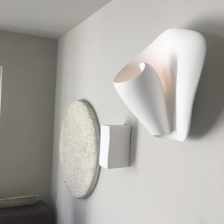 Tulip Contemporary Wall Sconce, Wall Light in White Plaster, Hannah Woodhouse For Sale 2