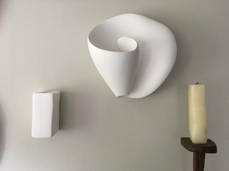 Tulip Contemporary Wall Sconce, Wall Light in White Plaster, Hannah Woodhouse For Sale 3