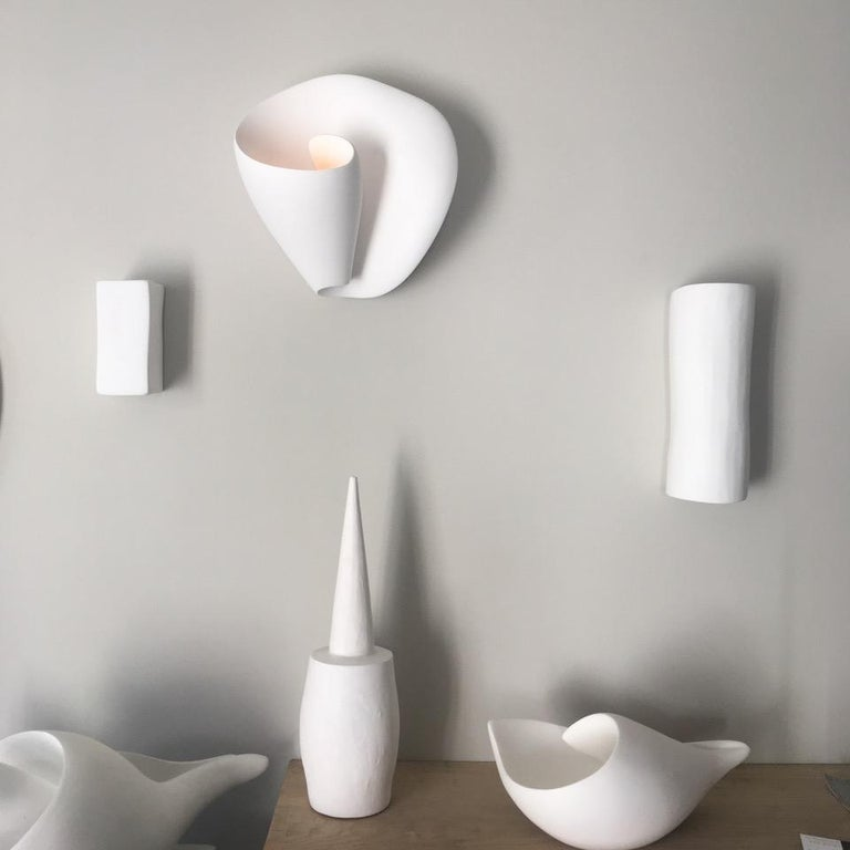Tulip Contemporary Wall Sconce, Wall Light in White Plaster, Hannah Woodhouse For Sale 4