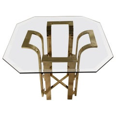 DIA Tulip Form Side Table w/ Brass Plated Metal Topped w/ Octagon Beveled Glass