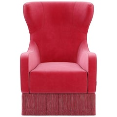 Velvet Upholstered Tulip Armchair in French Classic Style with Fringe
