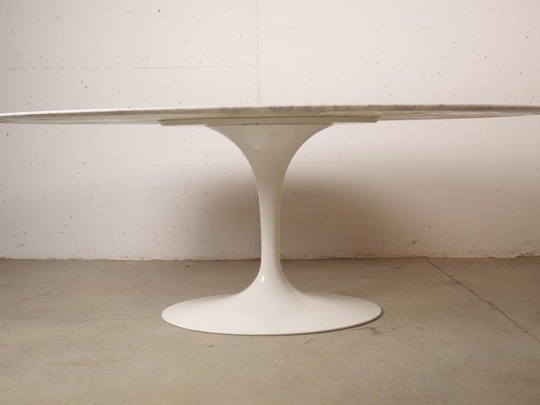 Carrara Marble Tulip Oval Marble Dinning Table by Eero Saarinen for Knoll