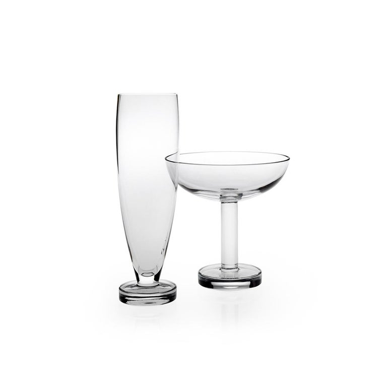 Modern Tulip Set of Six Champagne or Martini Glass by Aldo Cibic For Sale