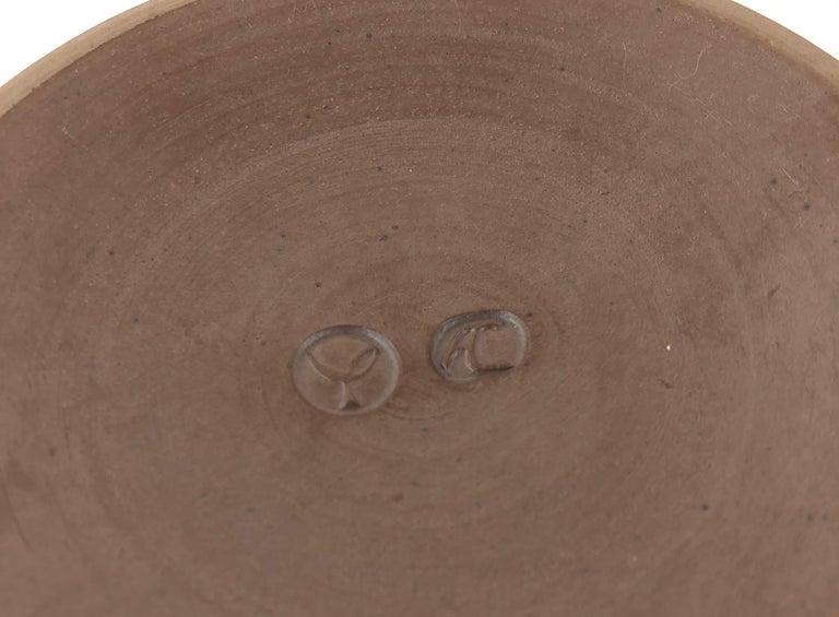 Brushed Tulip Shaped Ceramic Vase with Wooden and Metal Base, Manner of Berndt Friberg For Sale