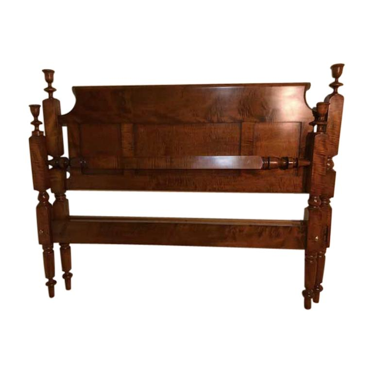 Tulip Top Empire Bed in Tiger Maple Refitted to a Standard King, circa 1820 For Sale
