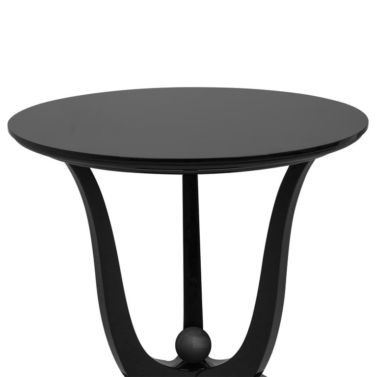 Side table Tulipe lacquered with all structure in hand carved solid mahogany wood in black lacquered finish.