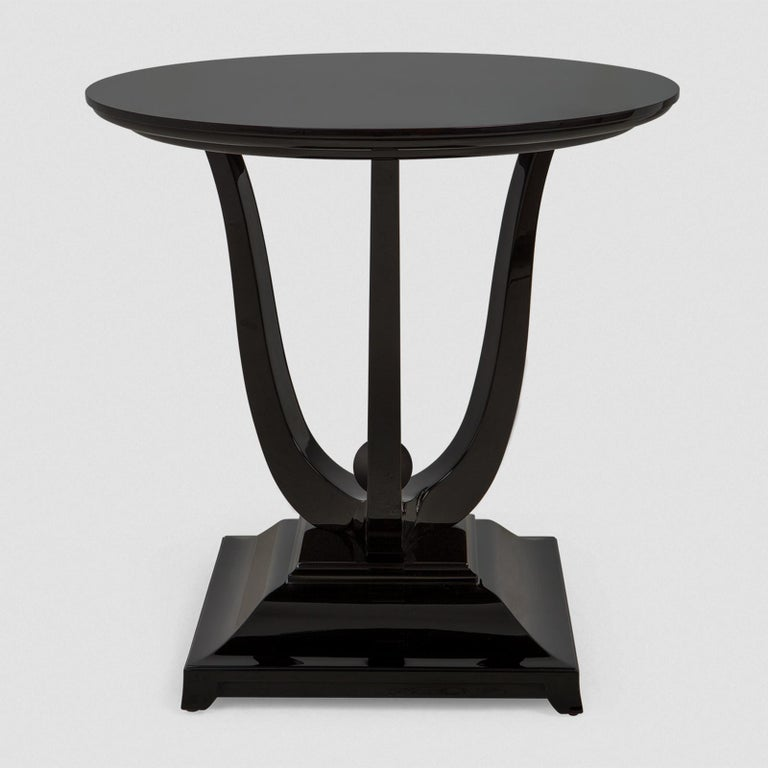Mahogany Tulipe Lacquered Side Table For Sale