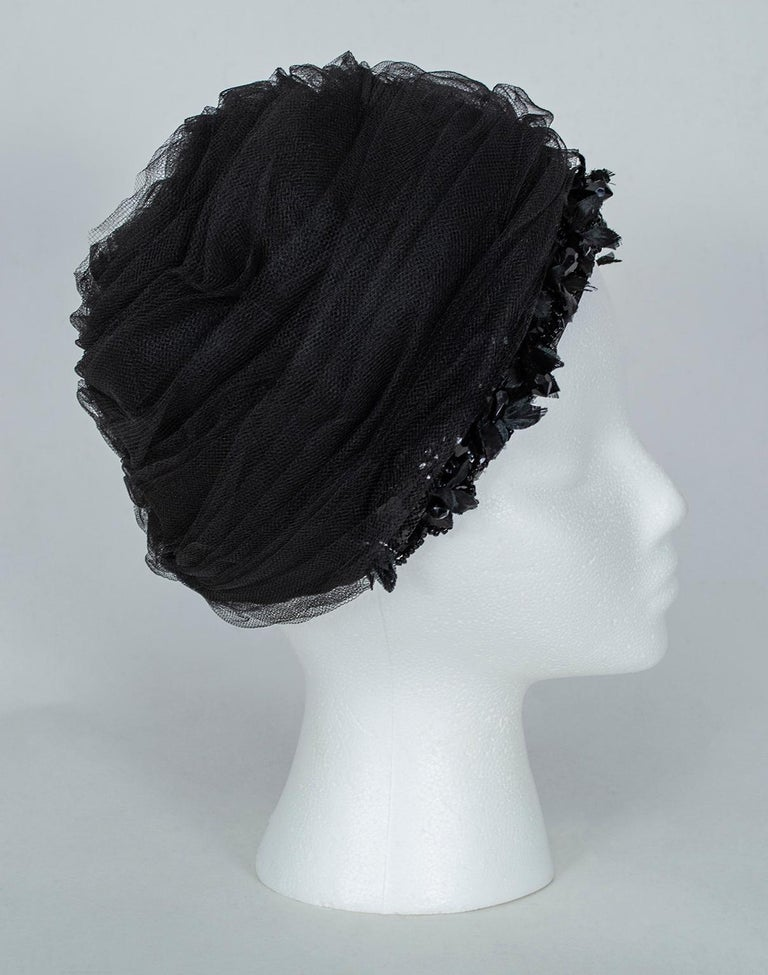 Black Tulle Cocktail Turban Hat with Beaded Floral Trim, 1960s For Sale