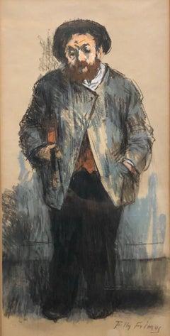 "Judaica Pastel Drawing ""The Violinist"" Jewish Klezmer Musician WPA Artist"