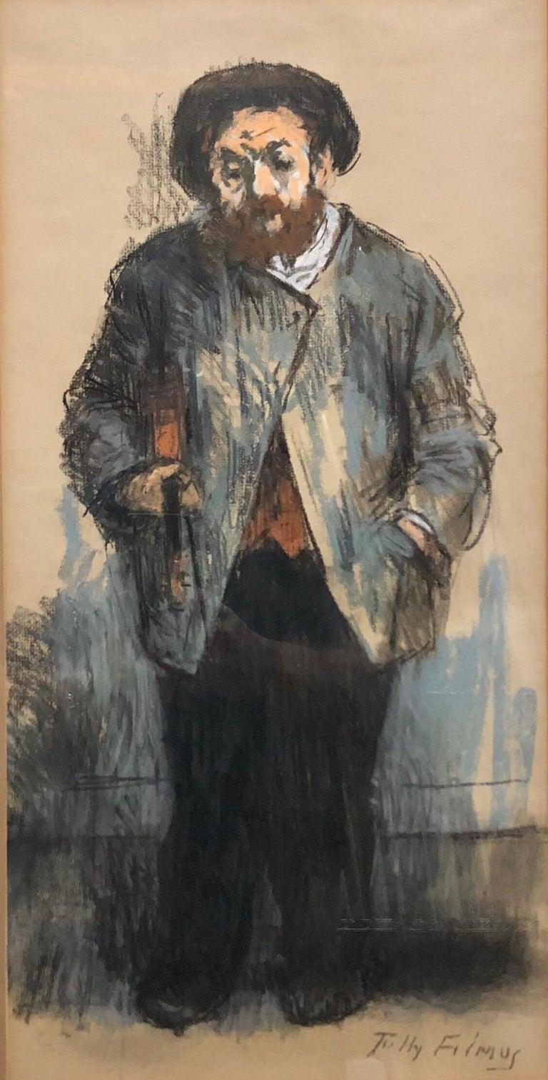 "Tully Filmus Figurative Painting - Judaica Pastel Drawing ""The Violinist"" Jewish Klezmer Musician WPA Artist"