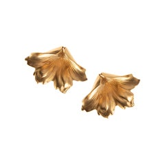 Tulum flower 24kt gold plated brass earrings