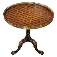 Tumble Block Parquetry Inlay Galleried Walnut Tripod Table