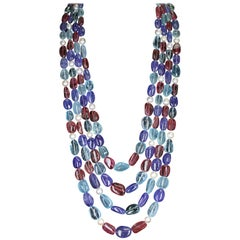 Tumbled Aquamarine, Tourmaline, Tanzanite and Pearl Three-Strand Necklace