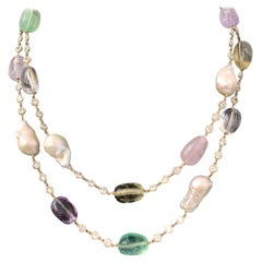 Tumbled Multicolor Gemstones and Baroque Pearl Station Necklace