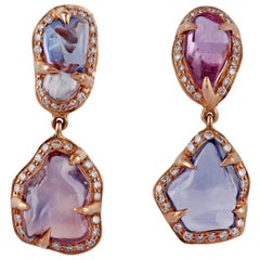 Tumbled Shaped Multi Sapphire and Diamond Earrings Studded in 18 Karat Rose Gold