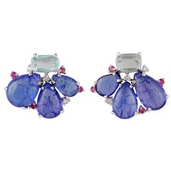 Tumbled Shaped Tanzanite, Emerald, Pink Sapphire and Diamond Earring in Gold