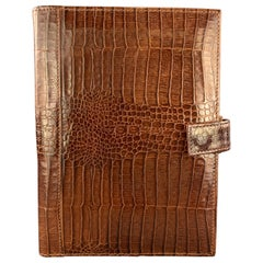 TUMI Alligator Embossed Tan Leather Planner Case