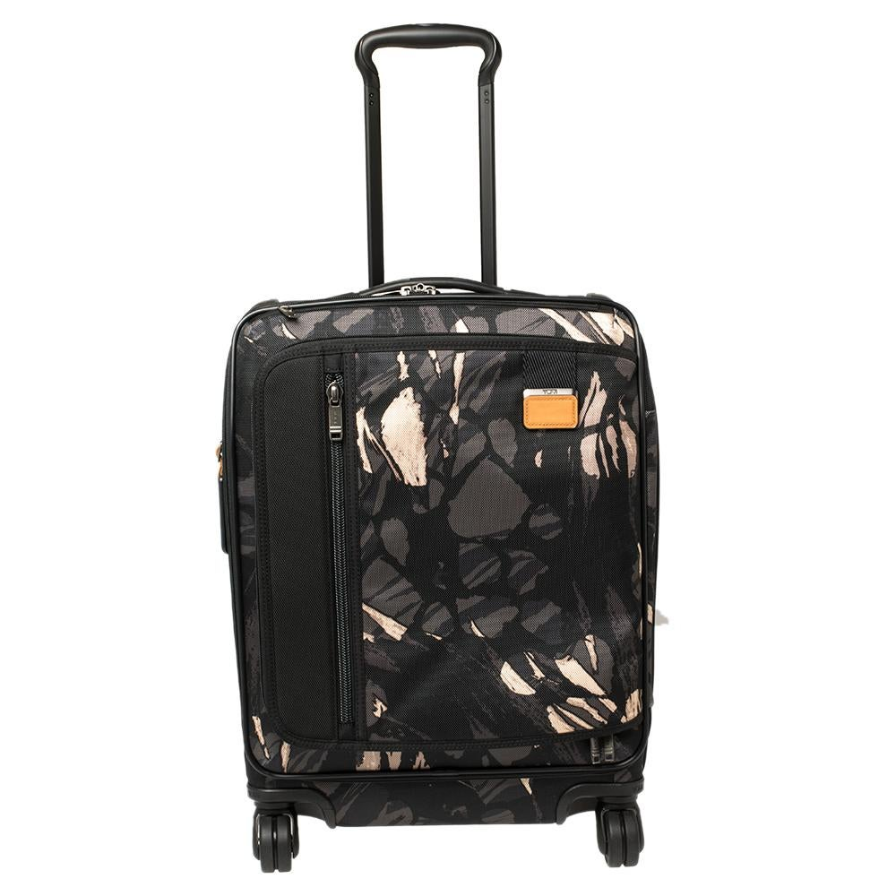 TUMI Black Highlands Print Nylon Merge Continental Expandable Carry On Luggage
