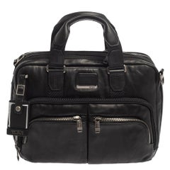 TUMI Black Leather Alpha Bravo Albany Slim Bag