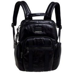 TUMI Black Leather Alpha Bravo Nellis Backpack