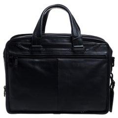 TUMI Black Leather Expandable Organizer Computer Briefcase