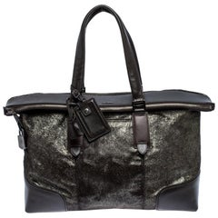 TUMI Black/Silver Calf hair and Leather Stamford Weekender Bag
