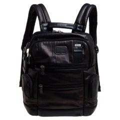 TUMI Dark Brown/Black Leather Alpha Bravo Knox Backpack
