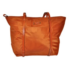 Tumi Golden Bronze-Tangerine Nylon Zippered Top Double-Handle Tote Bag