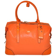 "Tumi ""Limited Edition"" Large Textured Bold Tangerine Double-Handle Travel Tote"
