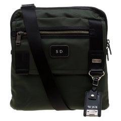 Tumi Olive Green Canvas Annapolis Flap Messenger Bag