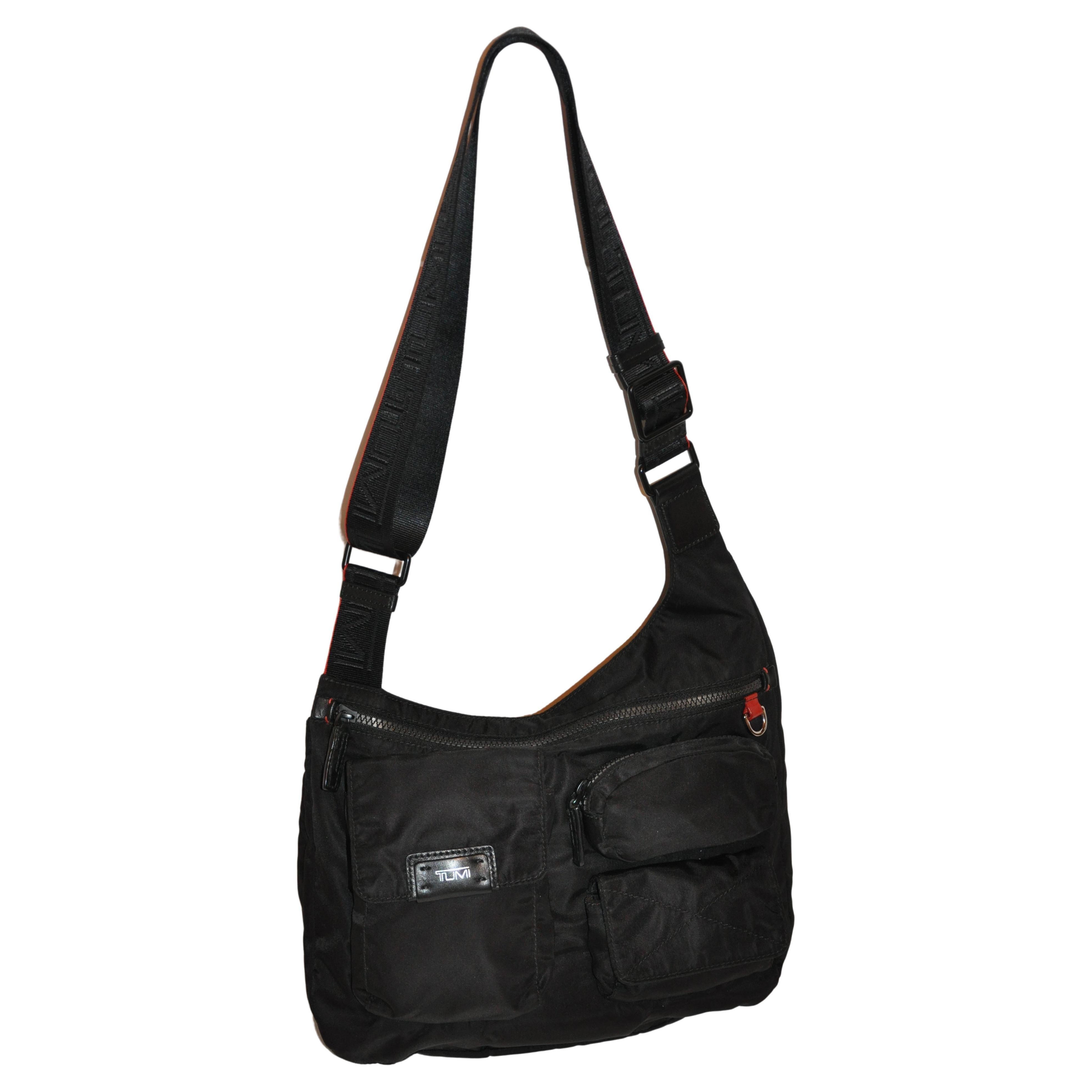 Tumi Zippered Top Crossbody Shoulder Bag with 4 Exterior Compartments