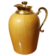 Tura Aldo Italian Designer Thermos in Wood Covered in Goatskin