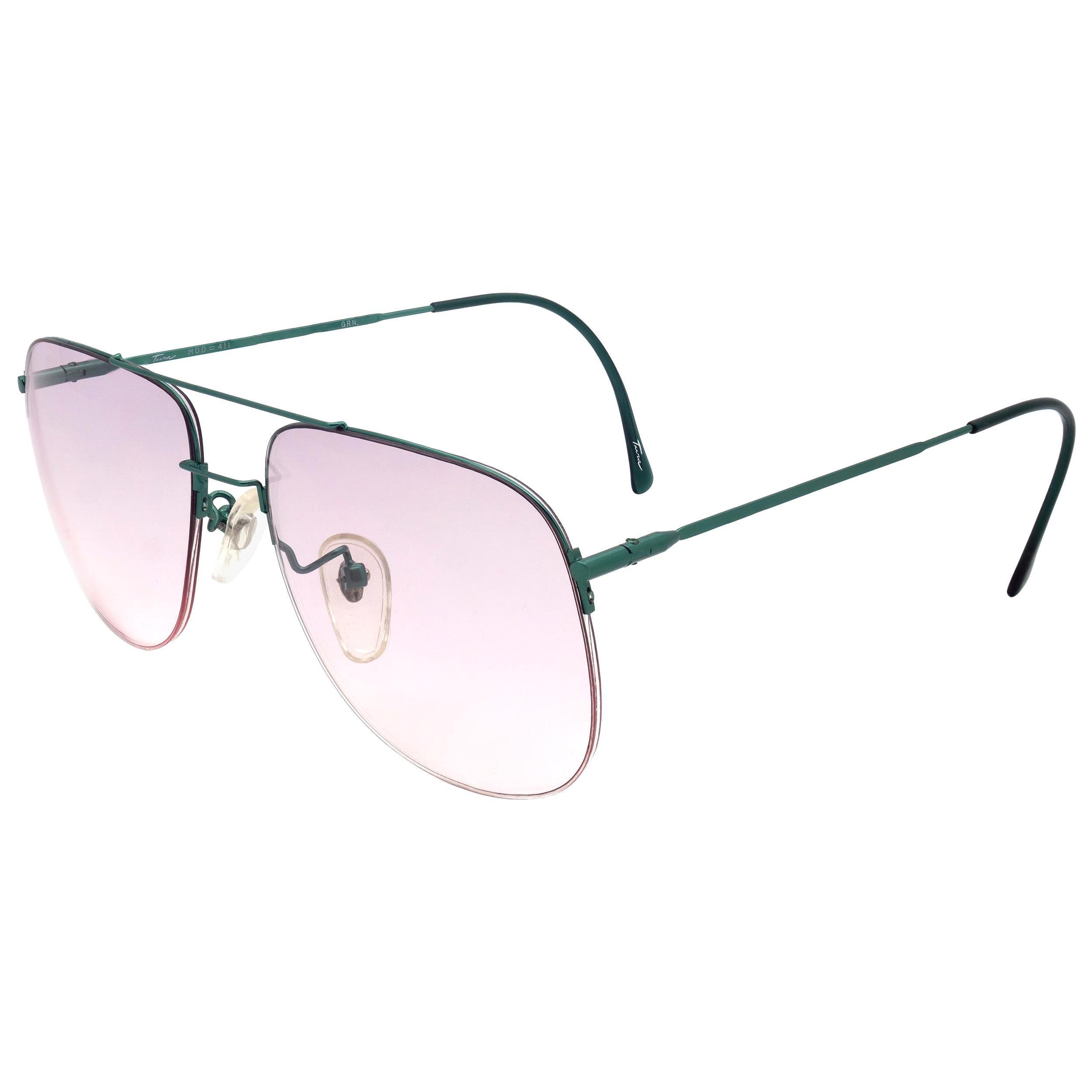 Tura vintage sunglasses, made in Japan. Green wire lightweight aviators unisex