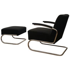 Turbular Steel Lounge Chair and Ottoman by Thonet, Modell 411, Cantilever