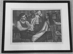 "Ture Bengtz ""Family Scene"" Original Pencil Signed Lithograph C.1940"